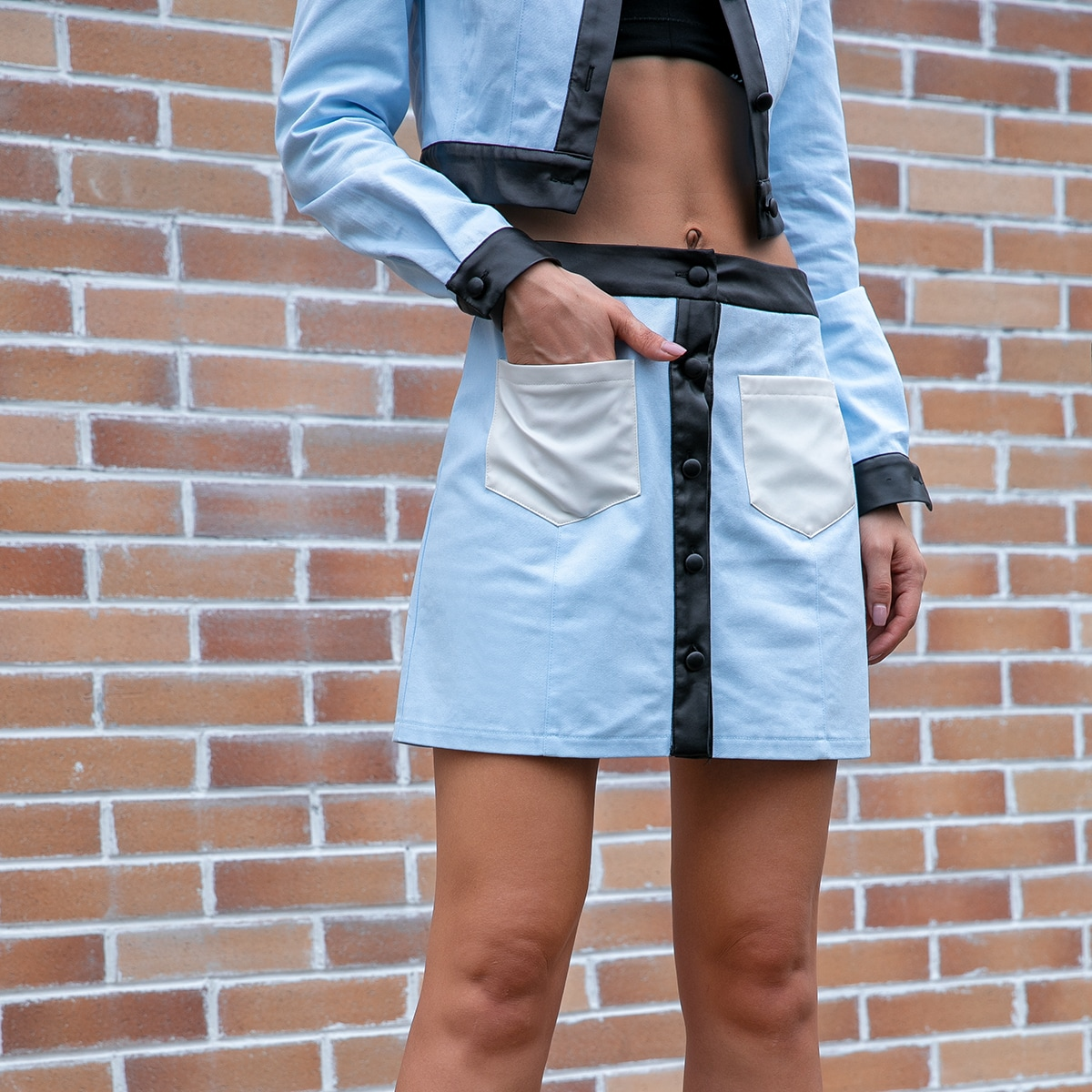 Button Front Patch Pocket Colorblock Skirt