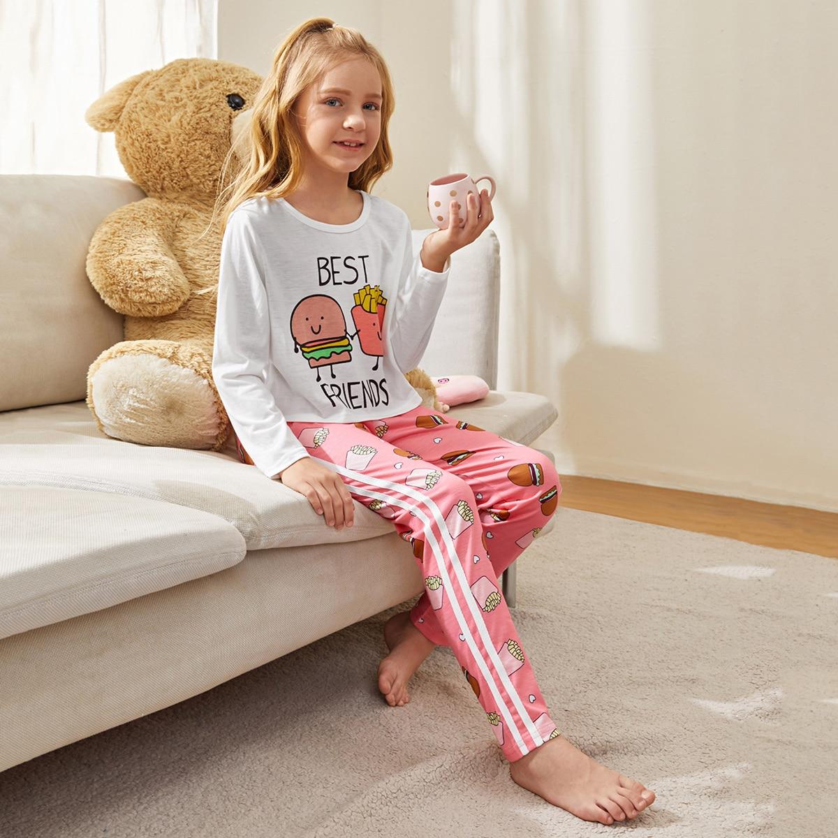 Боковая полоса полоска милый домашняя одежда для девочек