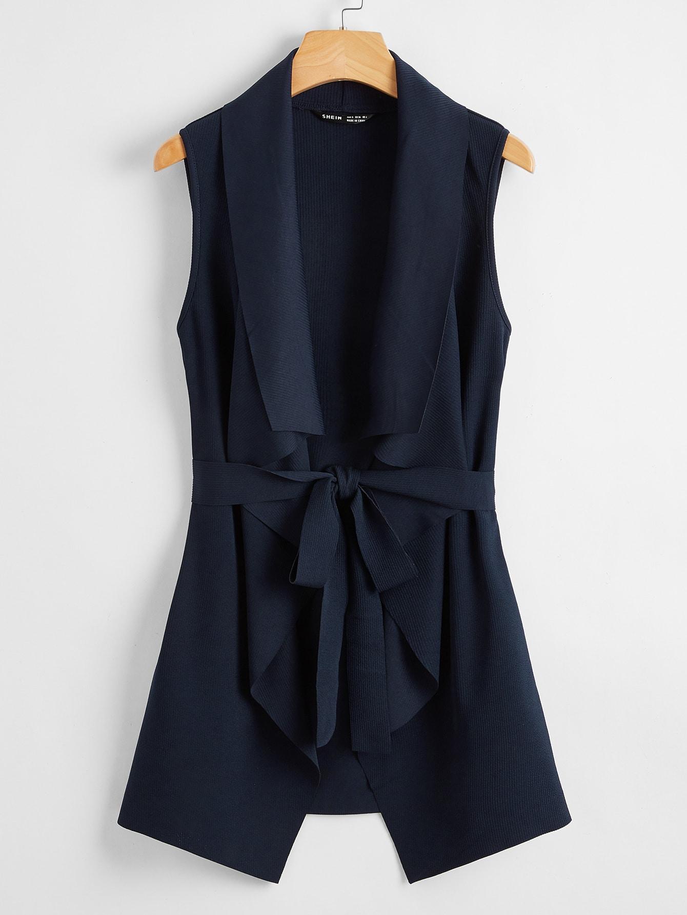Shawl Collar Self Belted Asymmetrical Hem Sleeveless Coat thumbnail