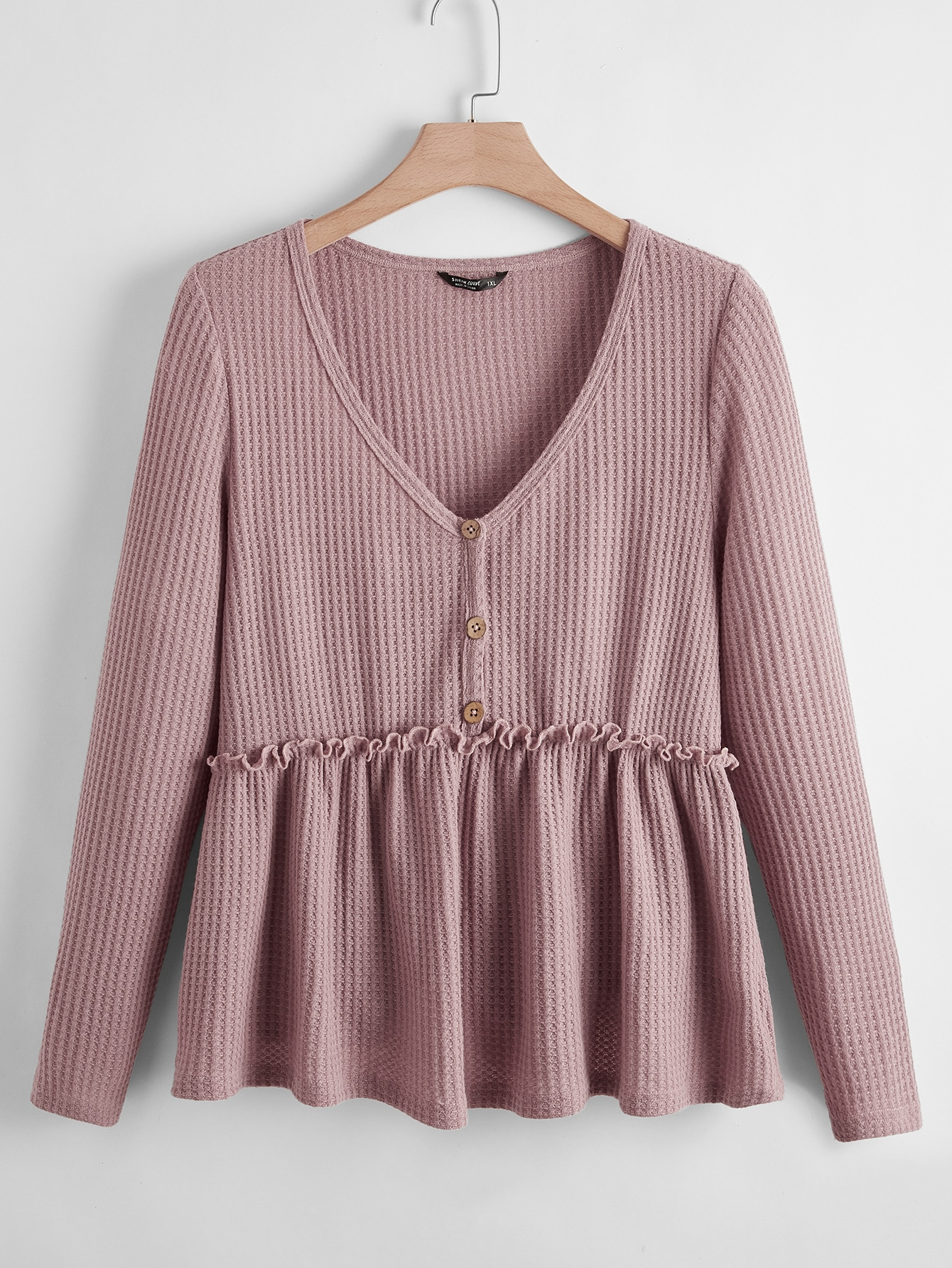 Plus Buttoned Front Frill Trim Waffle Knit Peplum Top thumbnail
