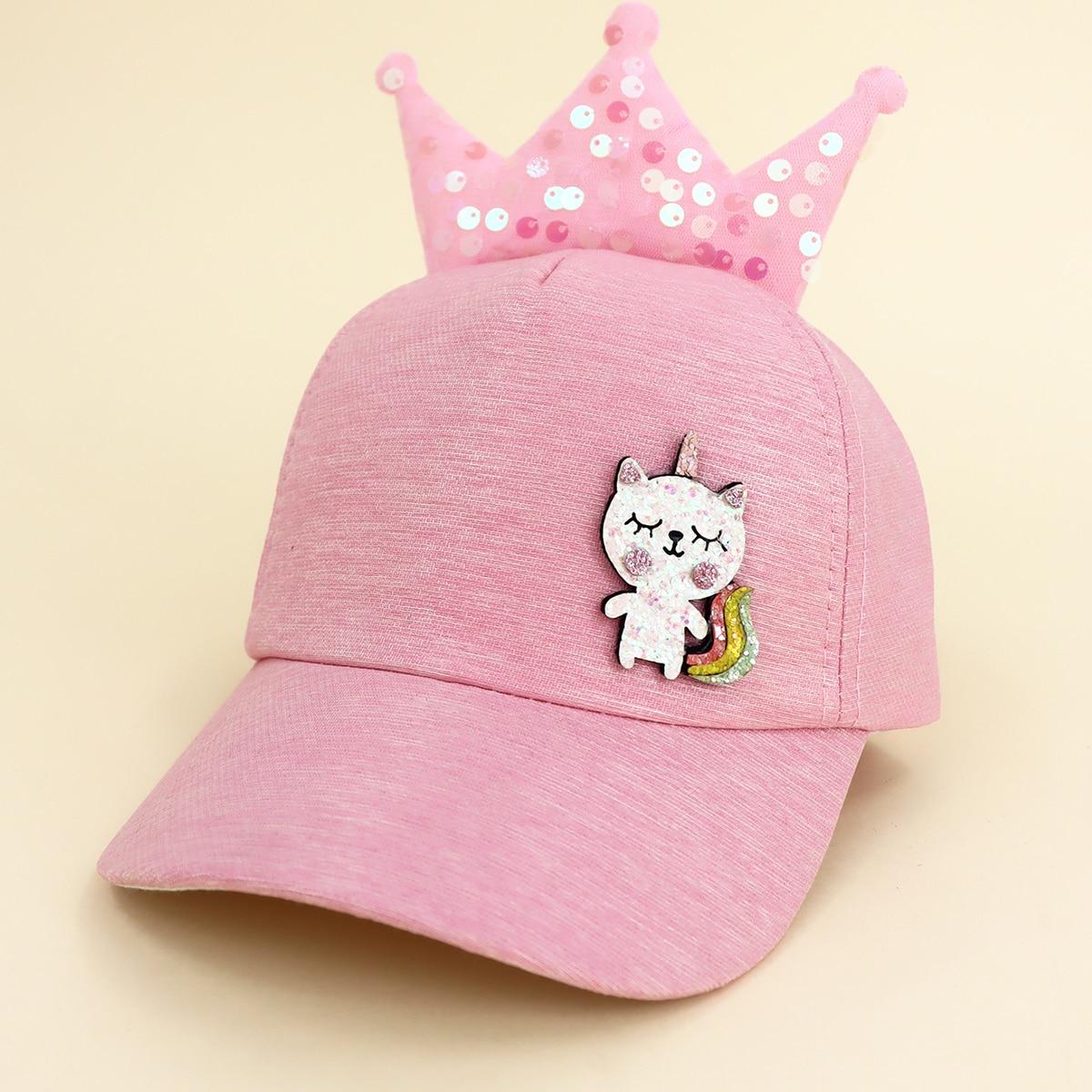 Toddler Girls Crown Decor Baseball Cap