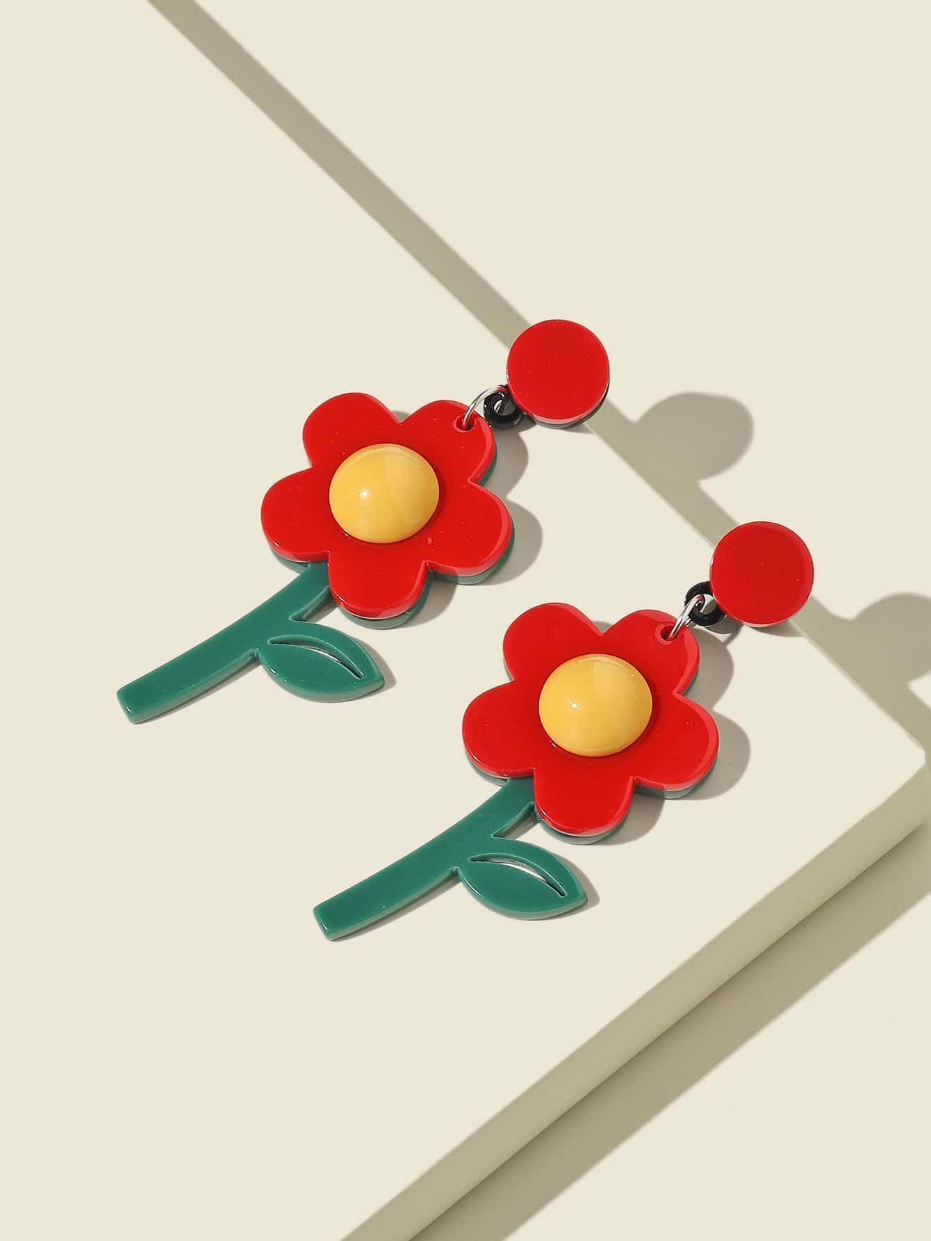 Flower Charm Drop Earrings thumbnail