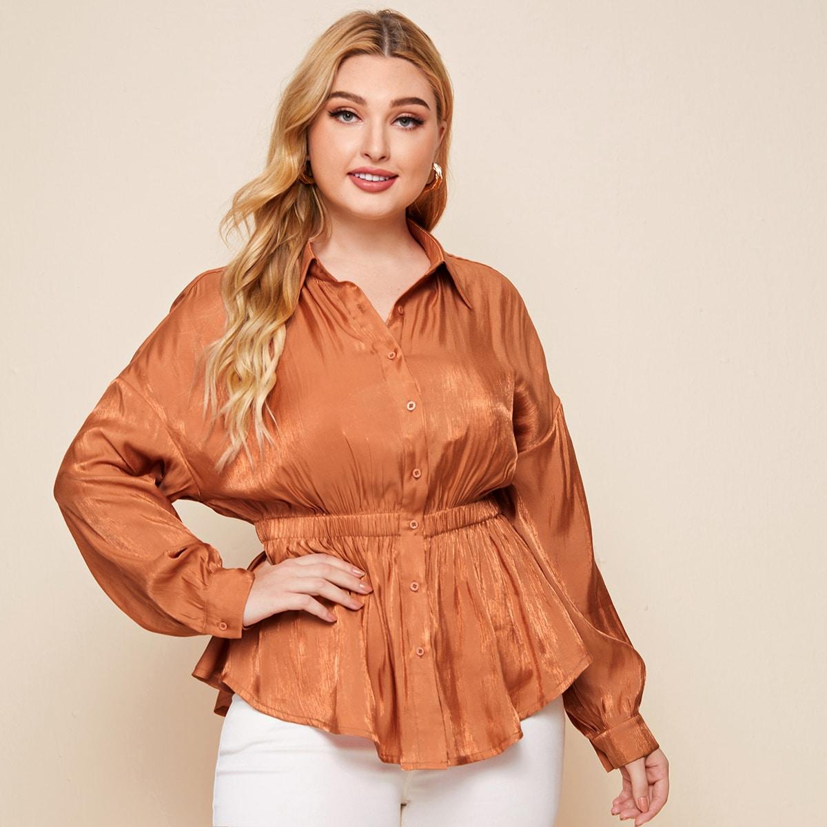 Блуза размера плюс с эластичной талией