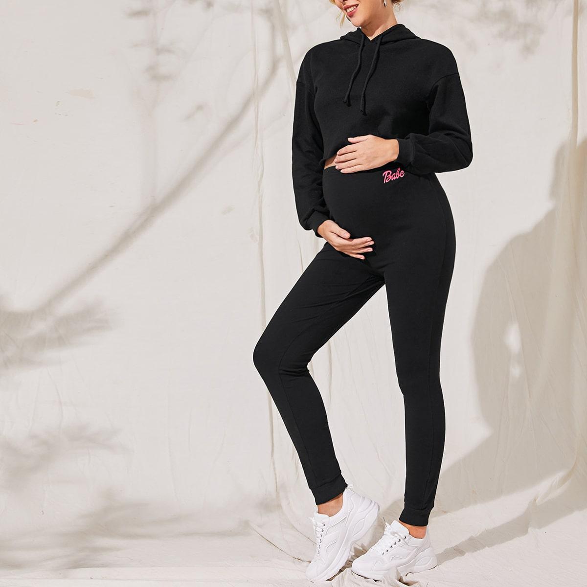 Толстовка и спортивные брюки с текстовым принтом для беременных