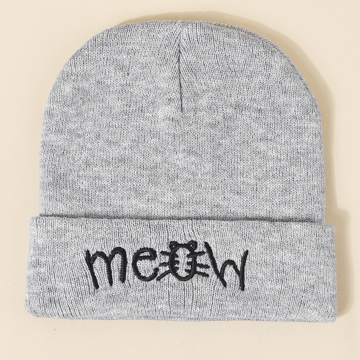 1pc Toddler Kids Embroidery Detail Beanie