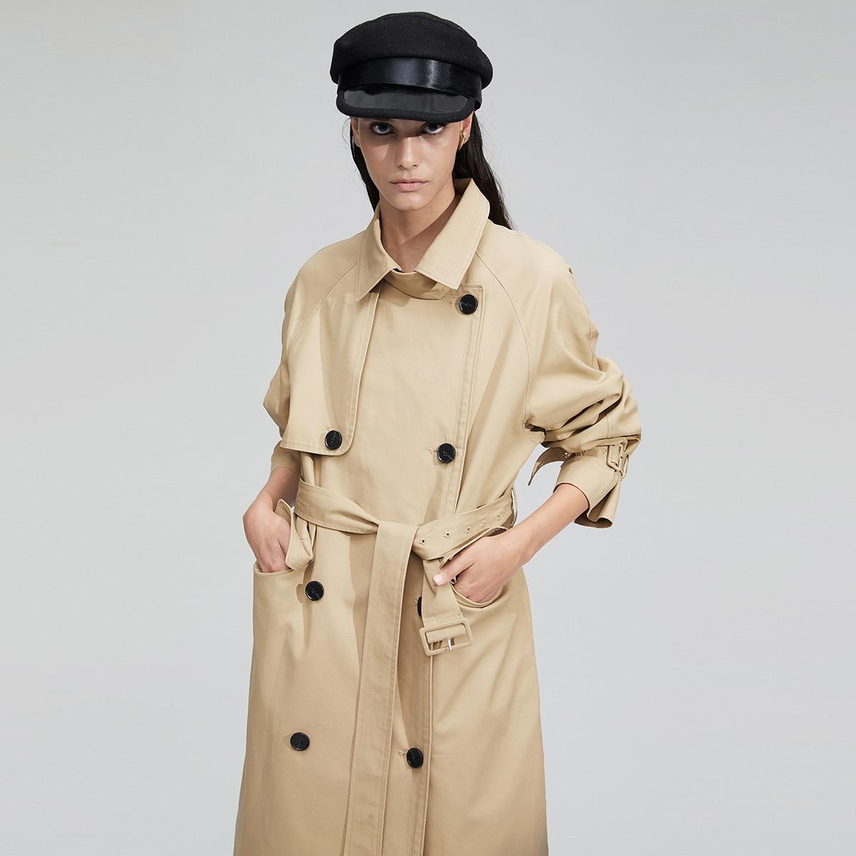 Пальто-тренч с поясом и пуговицами