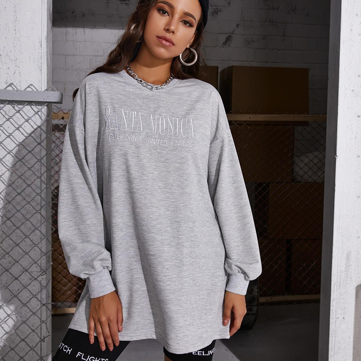 Длинный пуловер с текстовой вышивкой