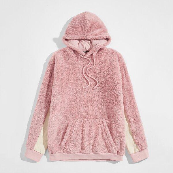 Men Colorblock Sleeve Drawstring Detail Teddy Hoodie, Pastel dusty pink