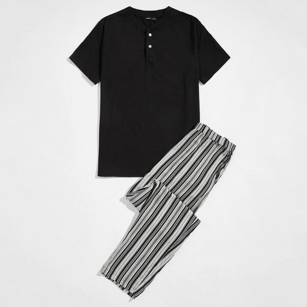 Men Button Half Placket Tee & Slant Pocket Striped Pants PJ Set, Black and white