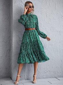 Mock Neck Ditsy Floral Smock Dress Without Belted - $21.95