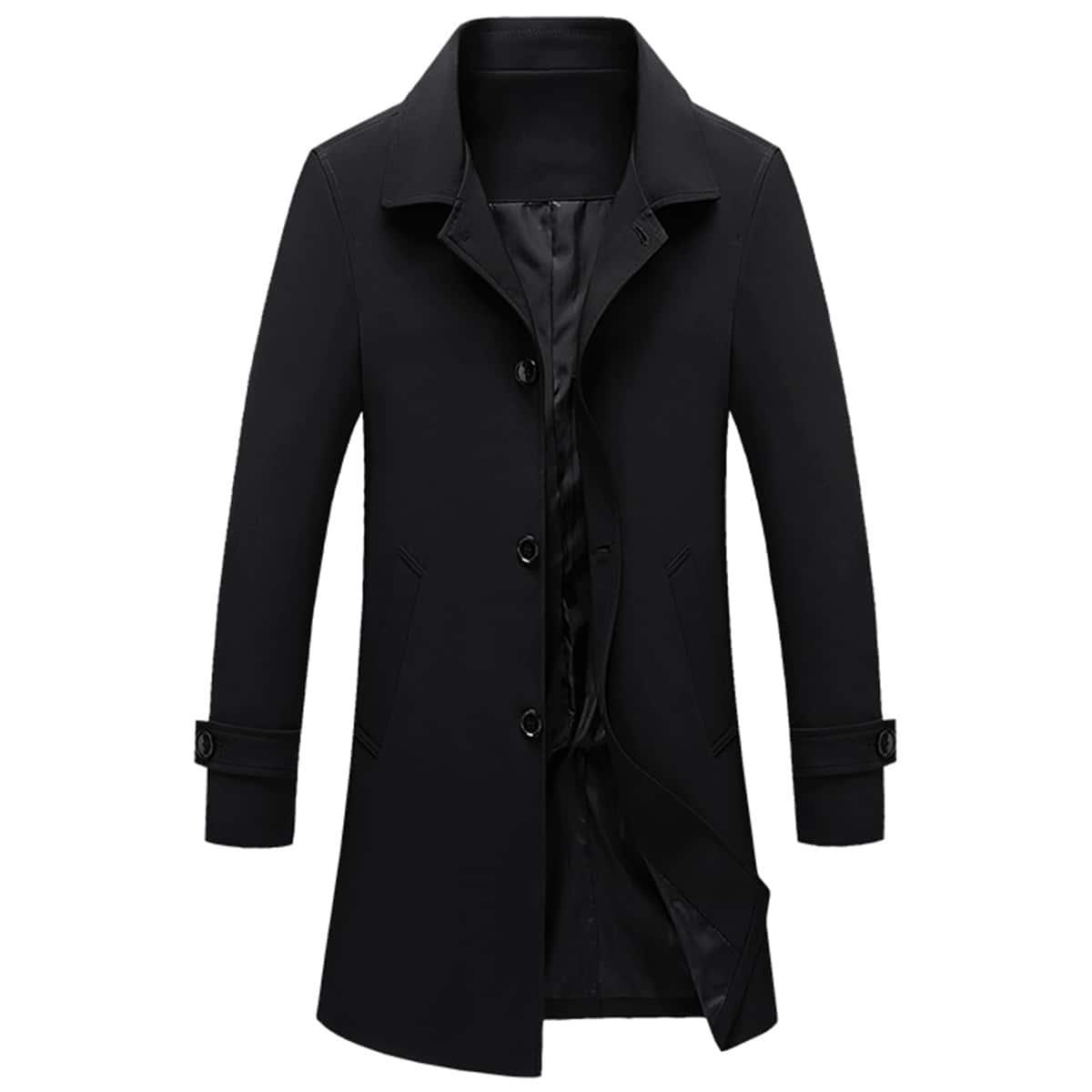 Мужское однобортное пальто тренч с карманом и лацканом