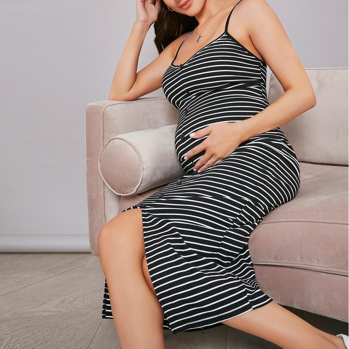 Платье в полоску с пуговицами для беременных
