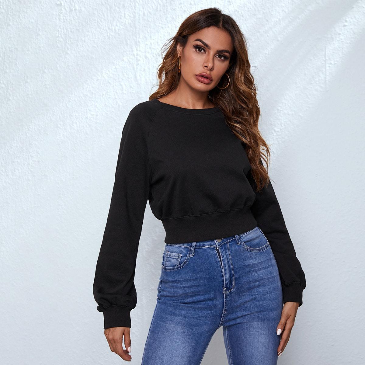 Однотонный пуловер с рукавом-регланом