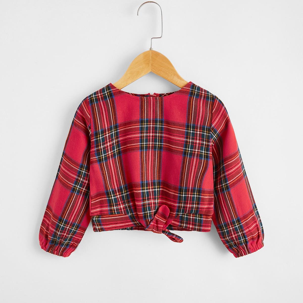 С бантом шотландка повседневный блузы для девочек