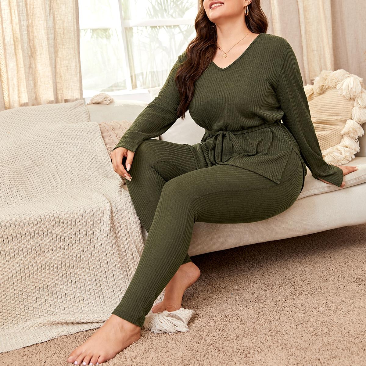 Однотонная пижама размера плюс с поясом и v-образным воротником
