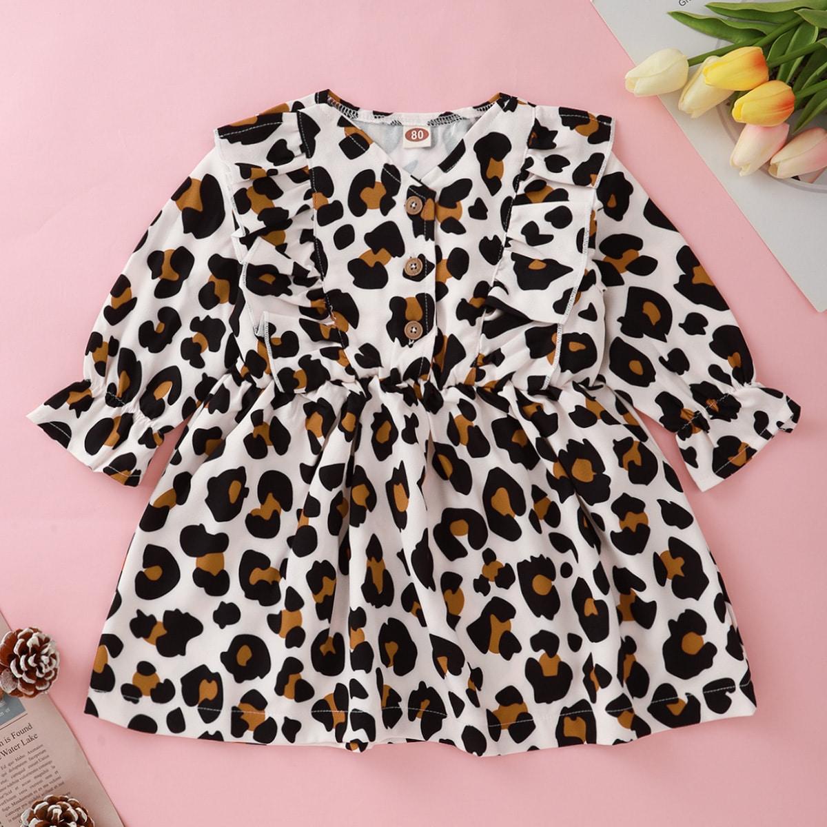 SHEIN Casual Luipaard Baby-jurk Knoop