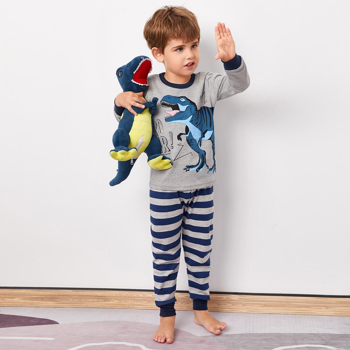 Контрастная отделка полоска милый домашняя одежда для мальчиков