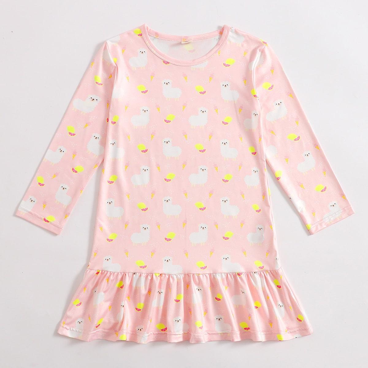 С оборками мультяшный принт милый домашняя одежда для девочек