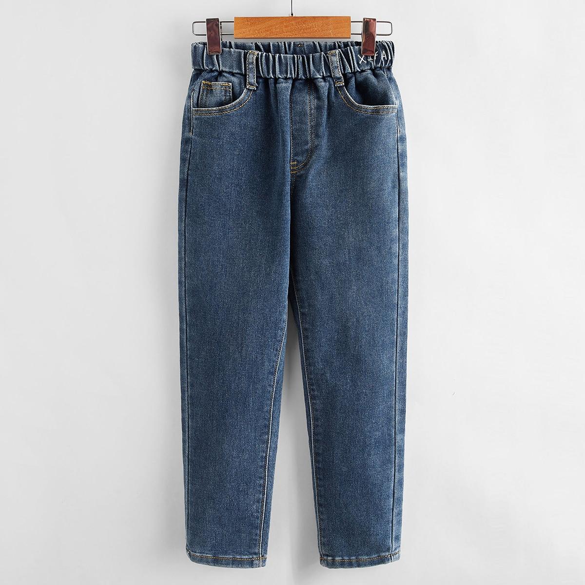 С вышивкой текст повседневный джинсы для девочек