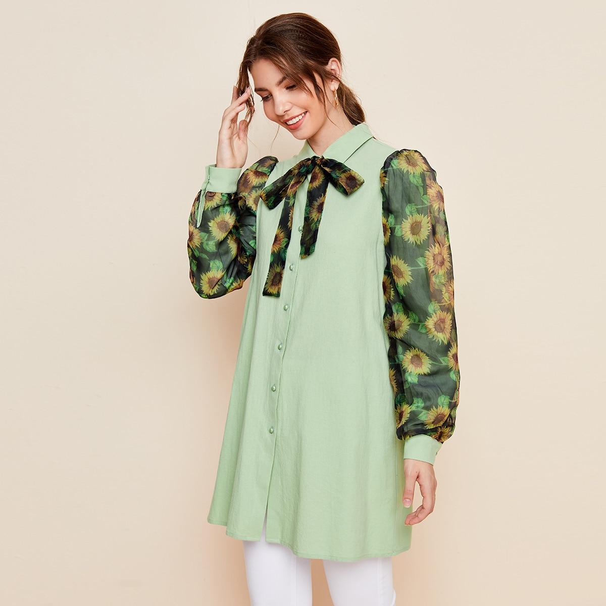 Блузка с воротником-бантом, пышным рукавом из органзы и узором подсолнуха