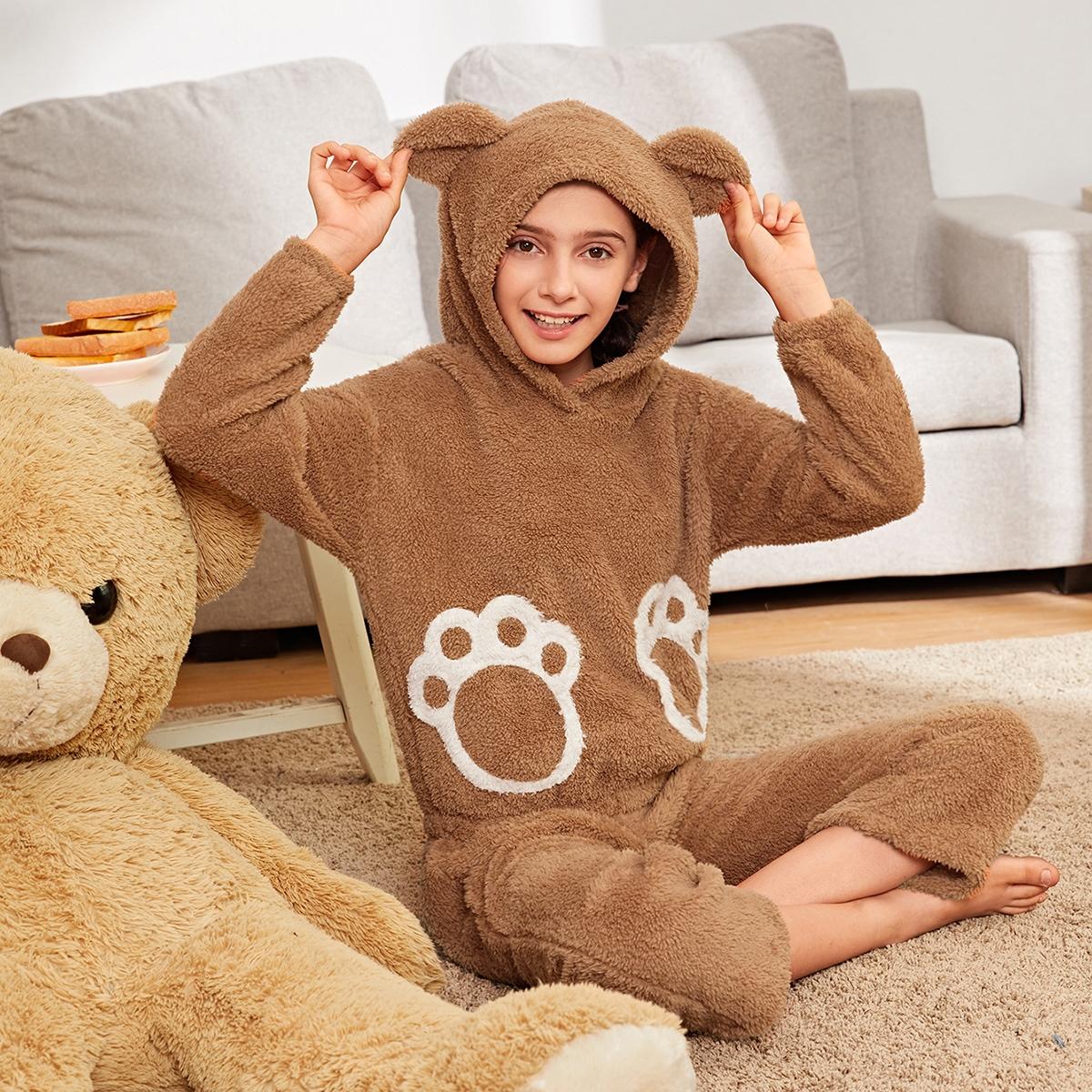 Плюшевая пижама в форме ушей 3d для девочек