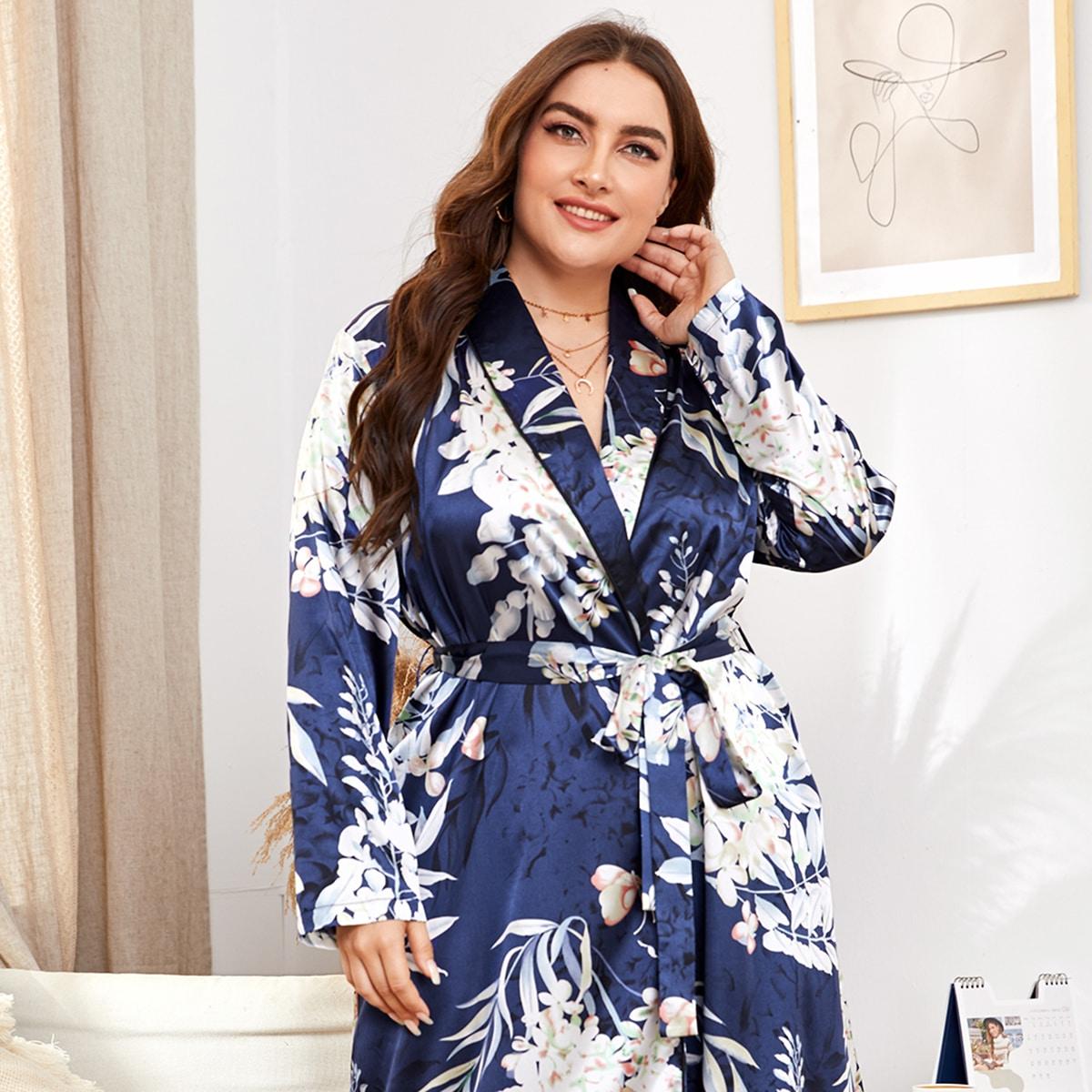 Plus Floral Print Self Tie Satin Robe