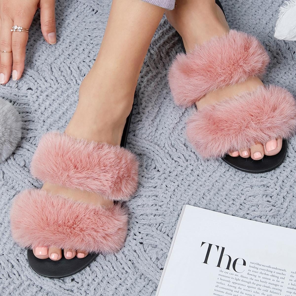 Плюшевые сандалии с искусственным мехом