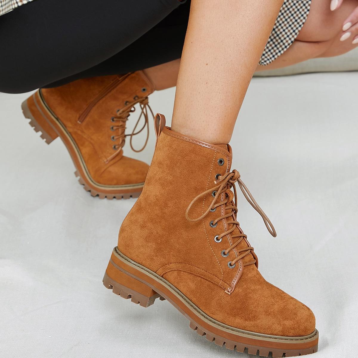 Ботинки на шнурках  из искусственной замши