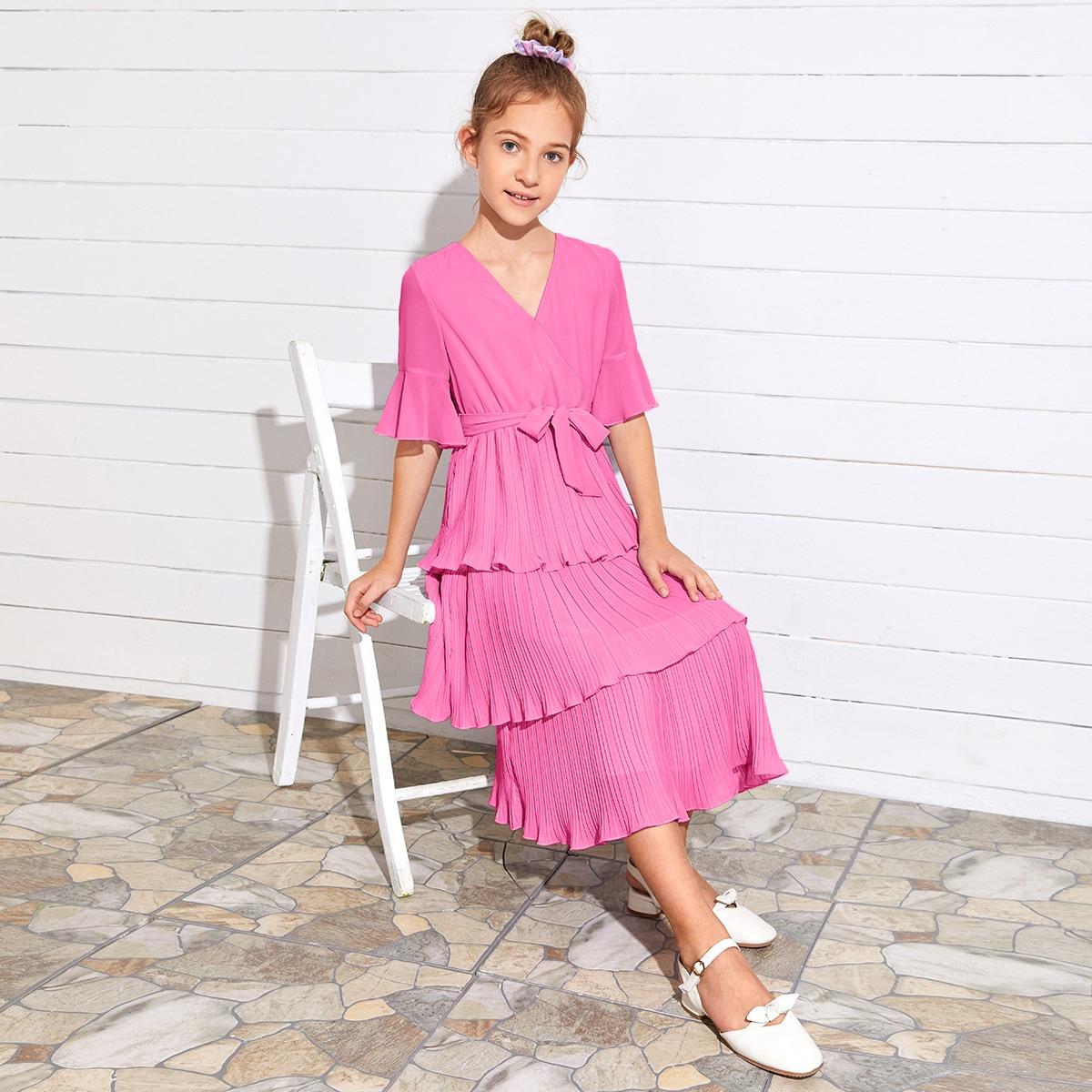 Плиссированное платье с v-образным воротником для девочек