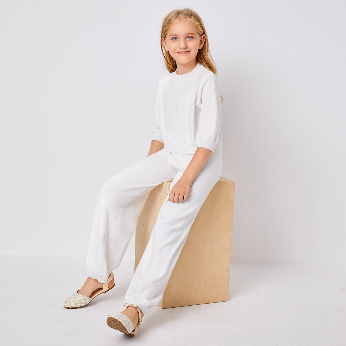 Кроп трикотажный топ и брюки для девочек