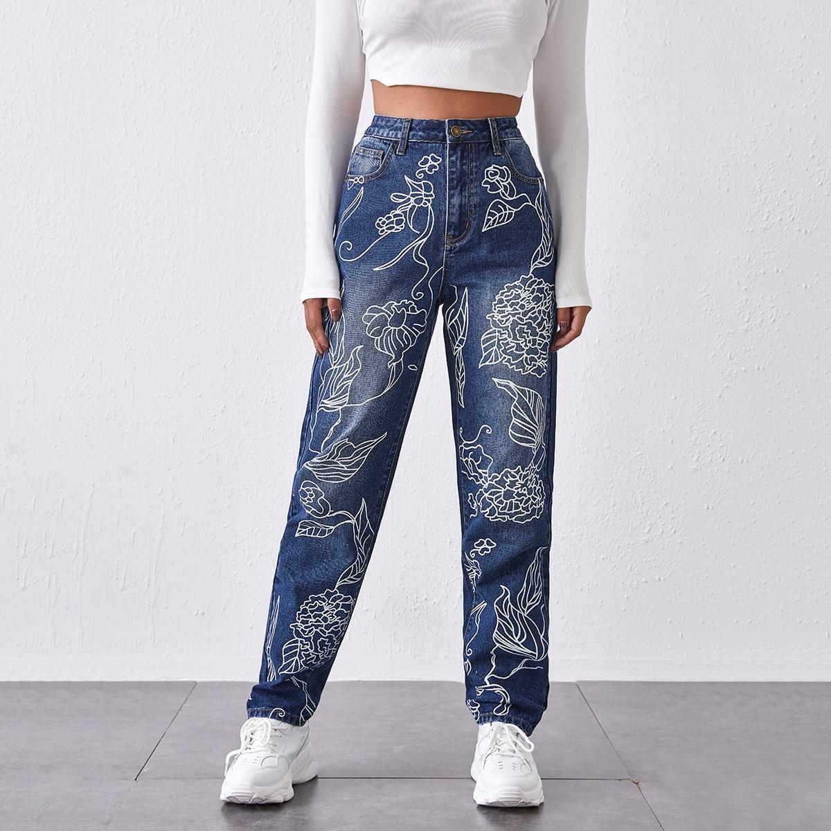 Прямые джинсы с цветочным принтом и высокой талией