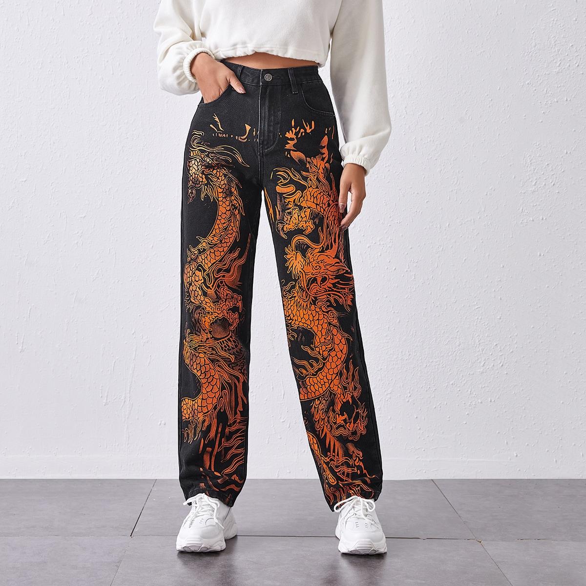 Прямые джинсы с принтом