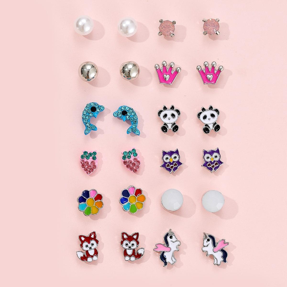 12 pezzi orecchini a bottone con perle da ragazza