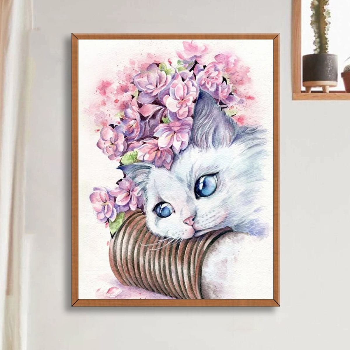 DIY алмазная картина с принтом кошки без рамки
