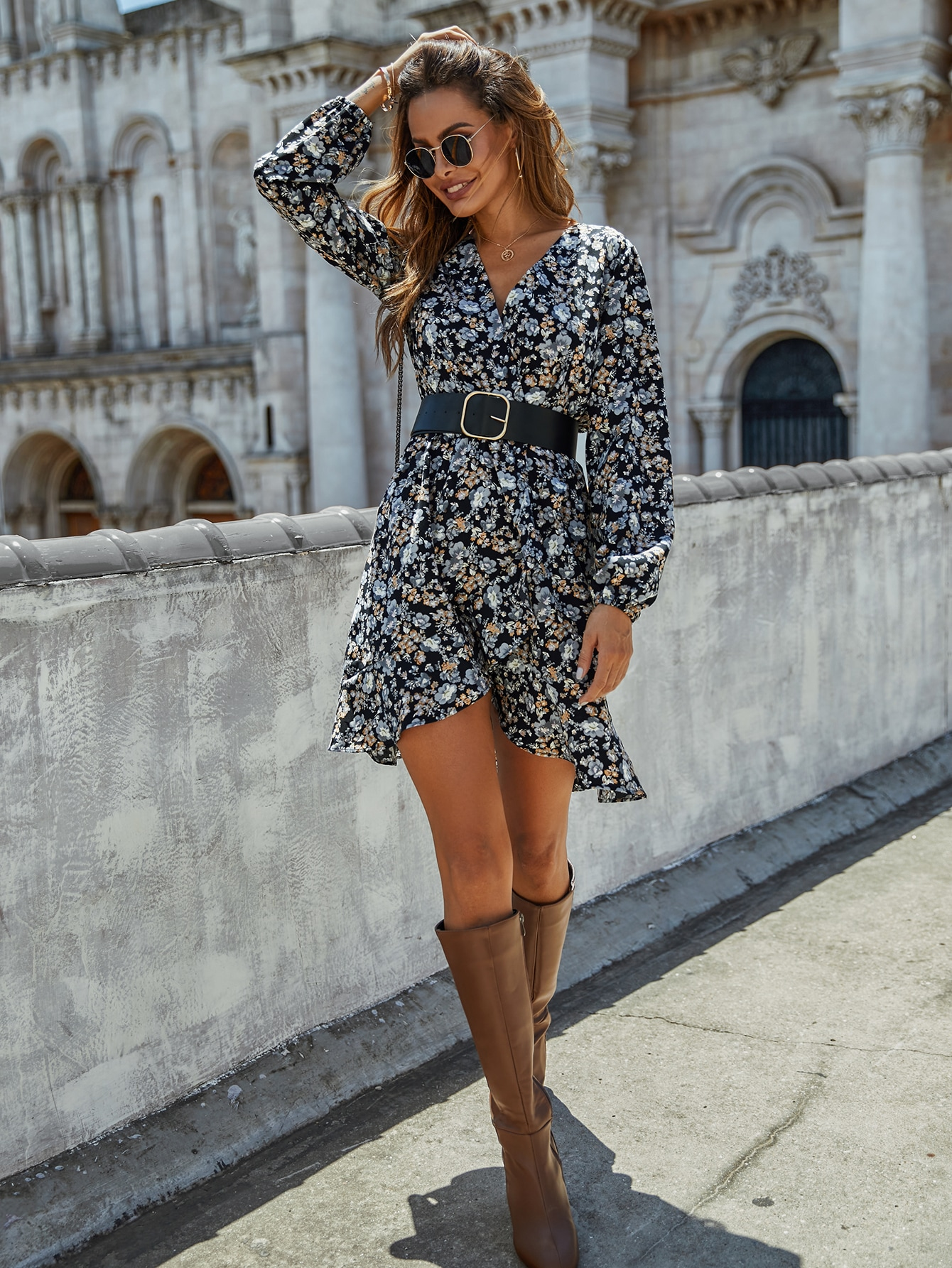 All Over Floral Print Ruffle Hem Dress Without Belt thumbnail