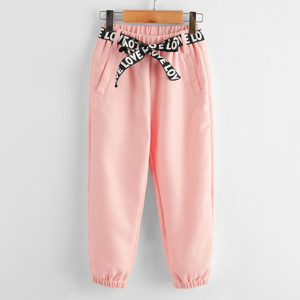 Спортивные брюки с карманом и поясом для девочек