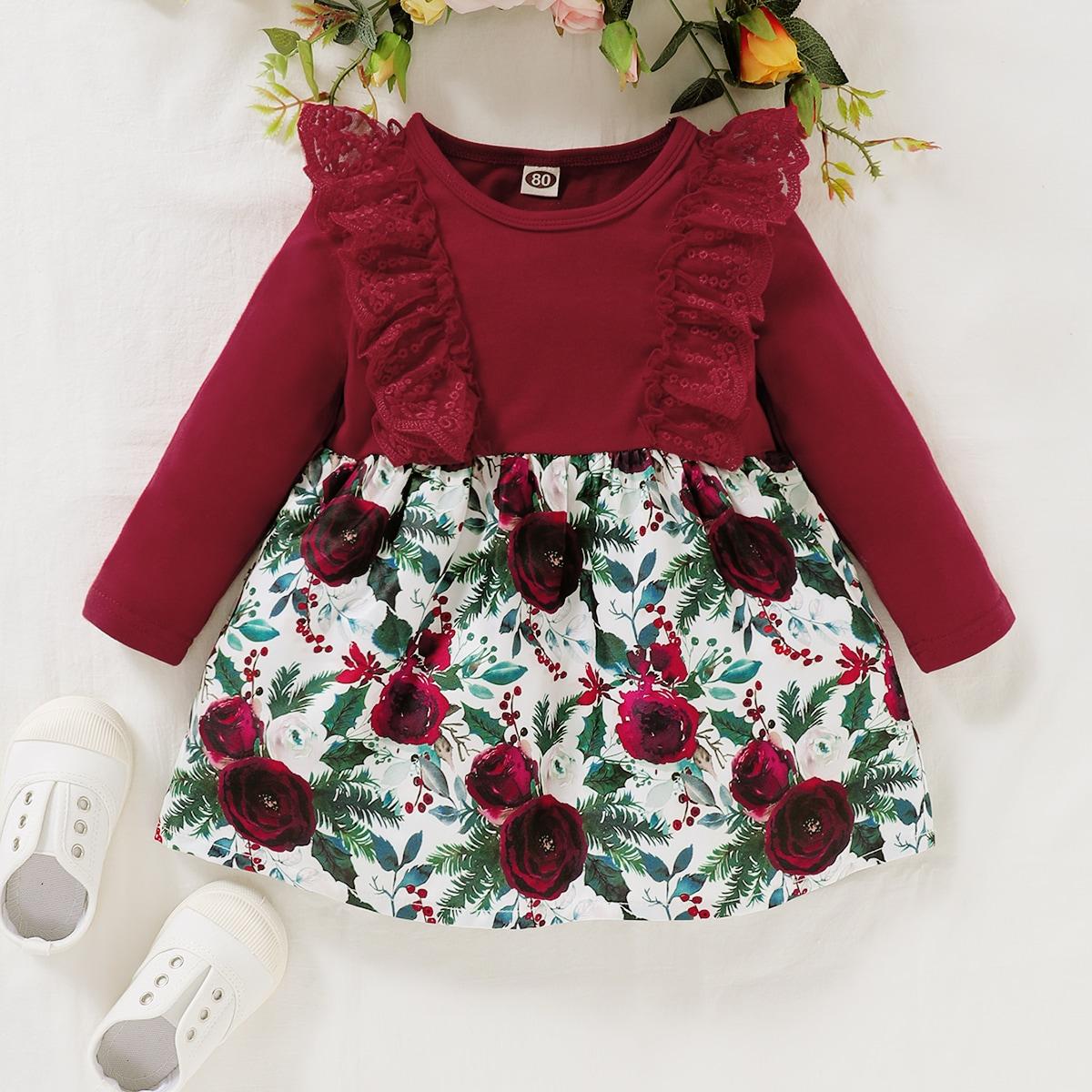 Контрастные кружева Цветочный принт милый Платья для малышей от SHEIN