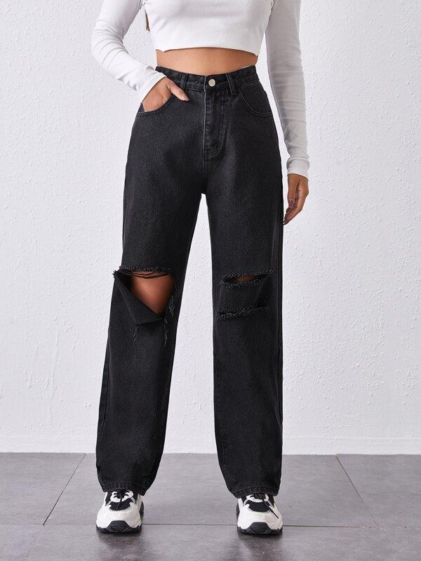 Vaqueros Holgados Rotos De Cintura Alta Mode De Mujer Shein Espana