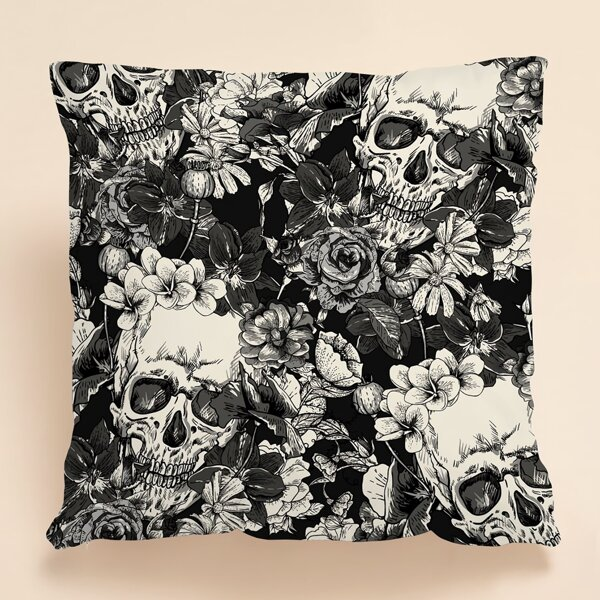 Skull Print Cushion Cover Without Filler, Multicolor