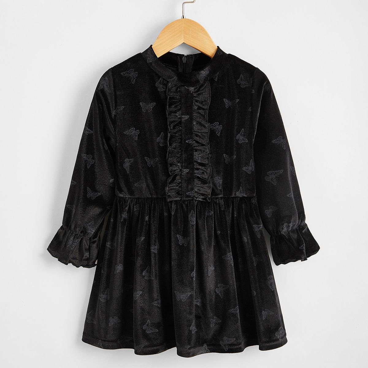 Оборка животный повседневный платья для девочек