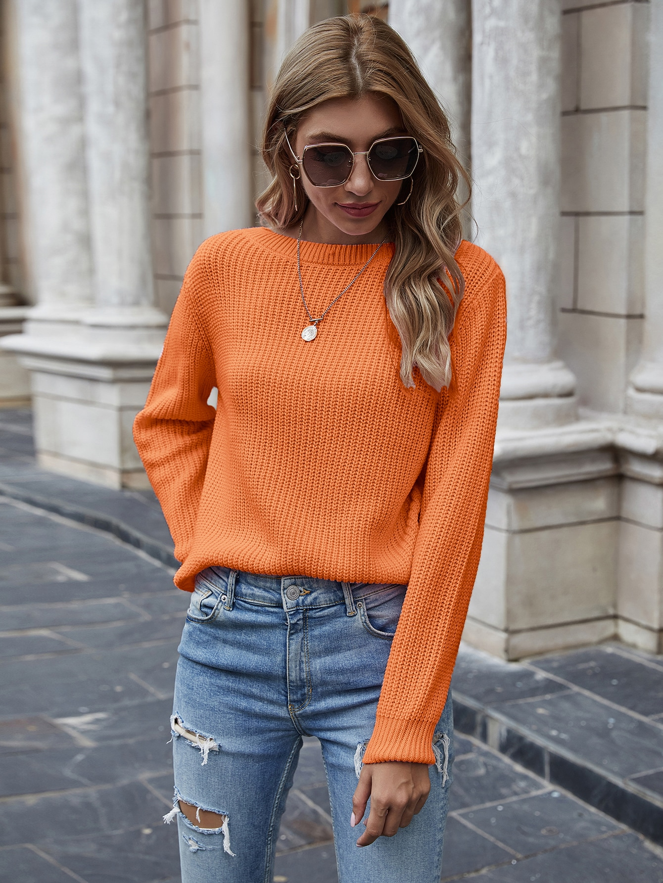 Solid Ribbed Knit Sweater thumbnail