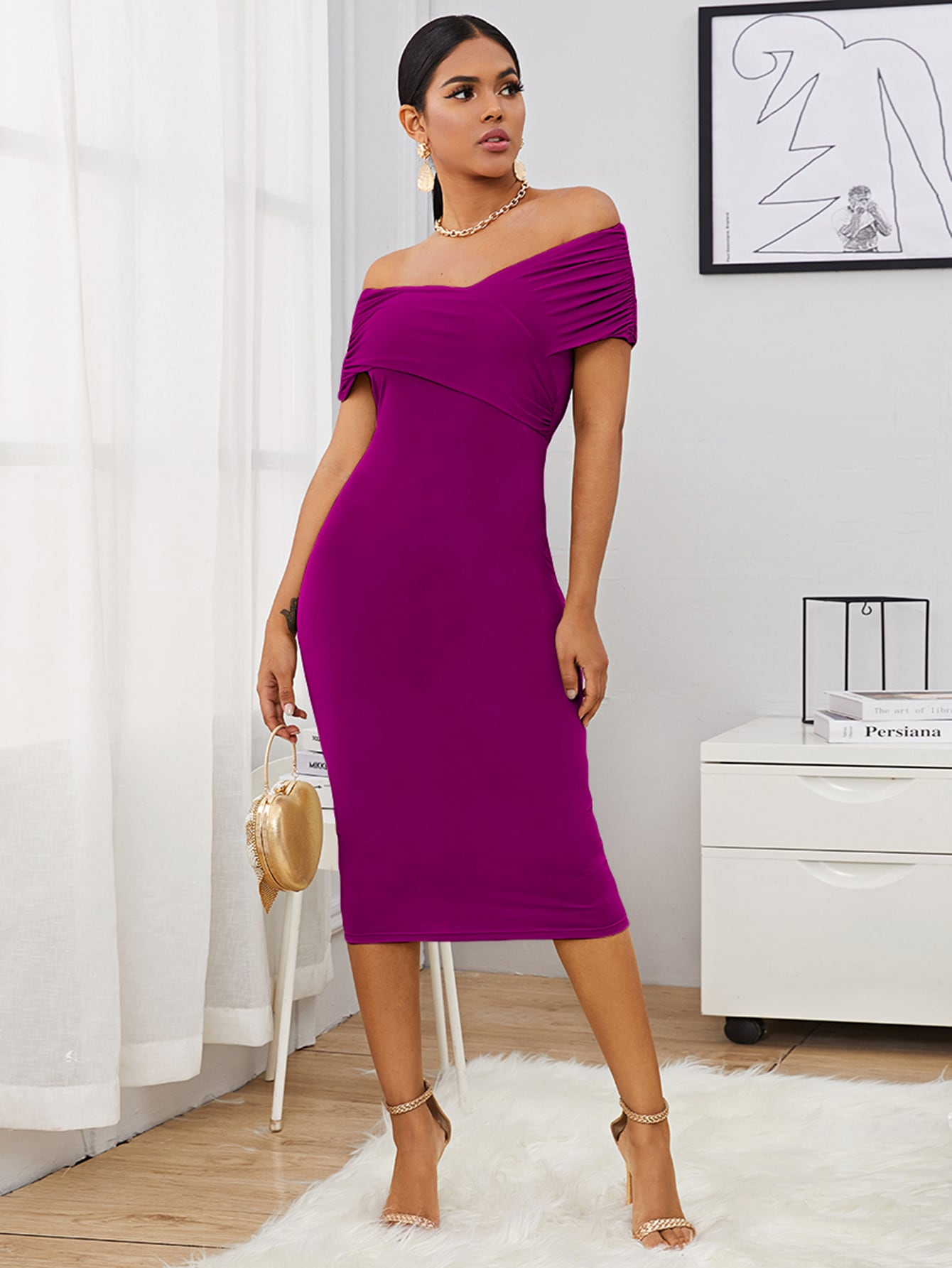 Off Shoulder Cross Wrap Ruched Foldover Dress thumbnail
