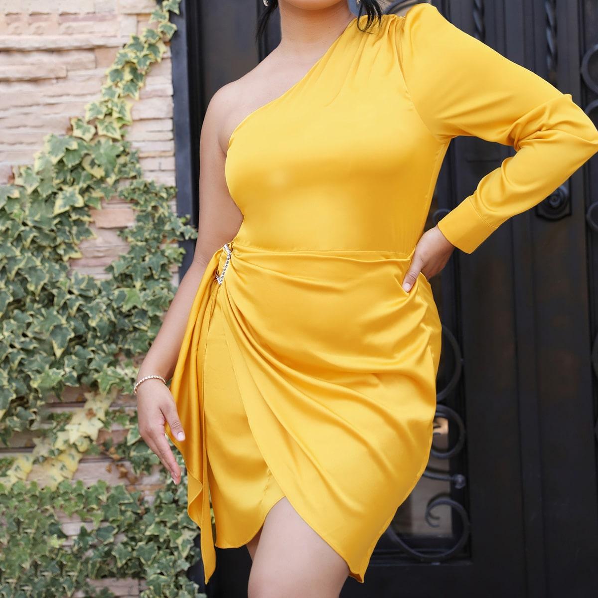 Пуговица Одноцветный Элегантный Платья размер плюс