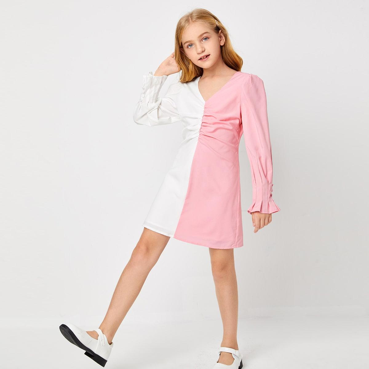 На молнии контрастный цвет повседневный платья для девочек