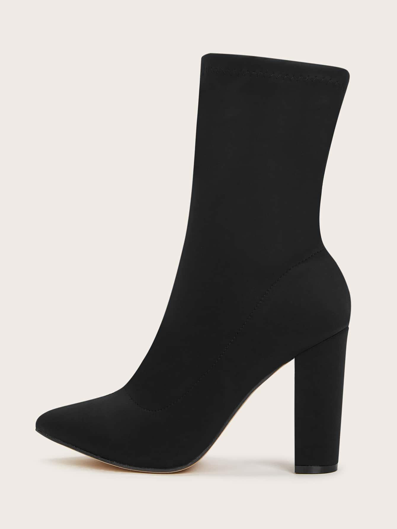 Minimalist Chunky Heeled Sock Boots