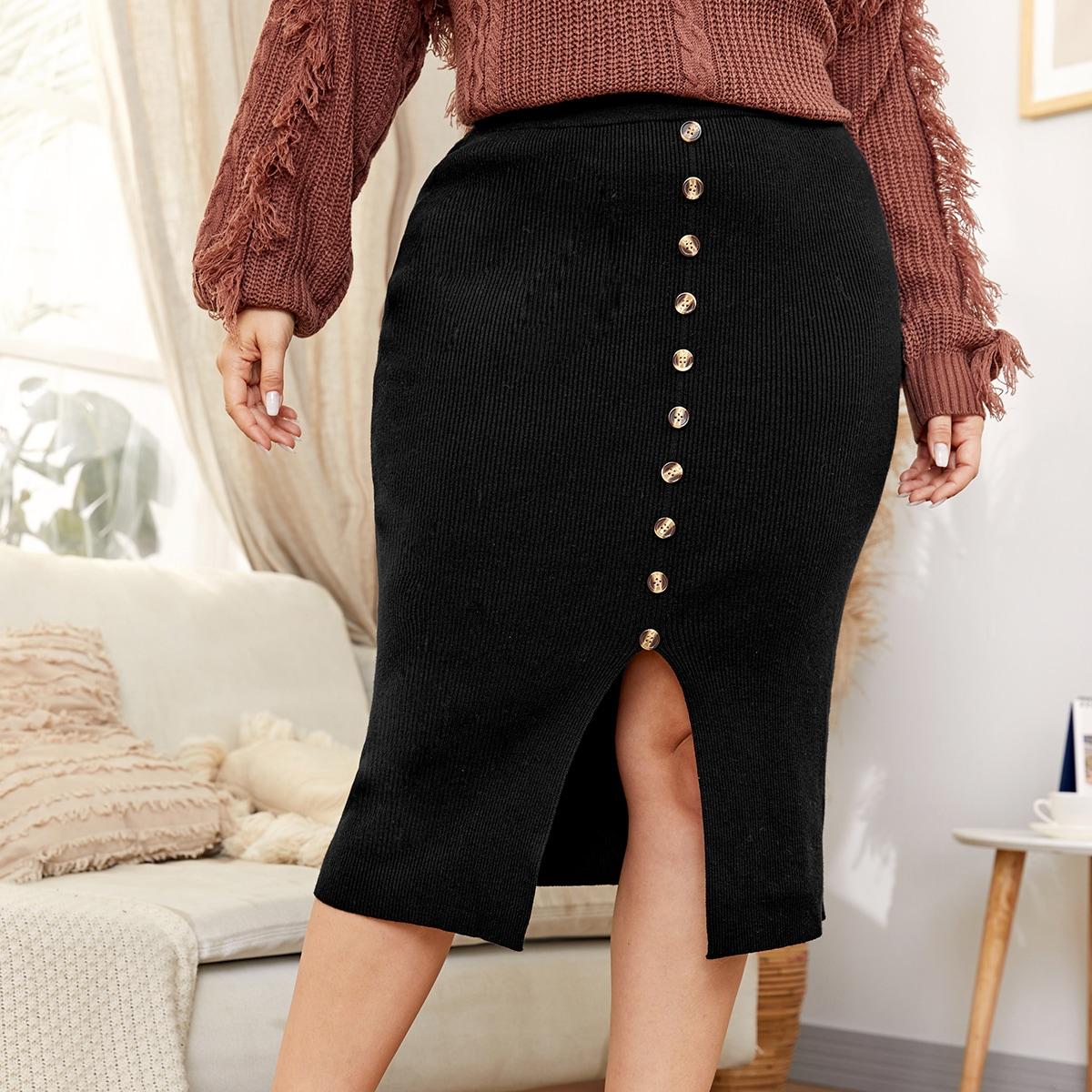 Трикотажная юбка размера плюс с пуговицами