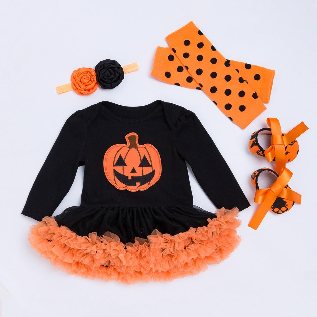 4 пакета боди с сетчатой отделкой на хэллоуин для девочек