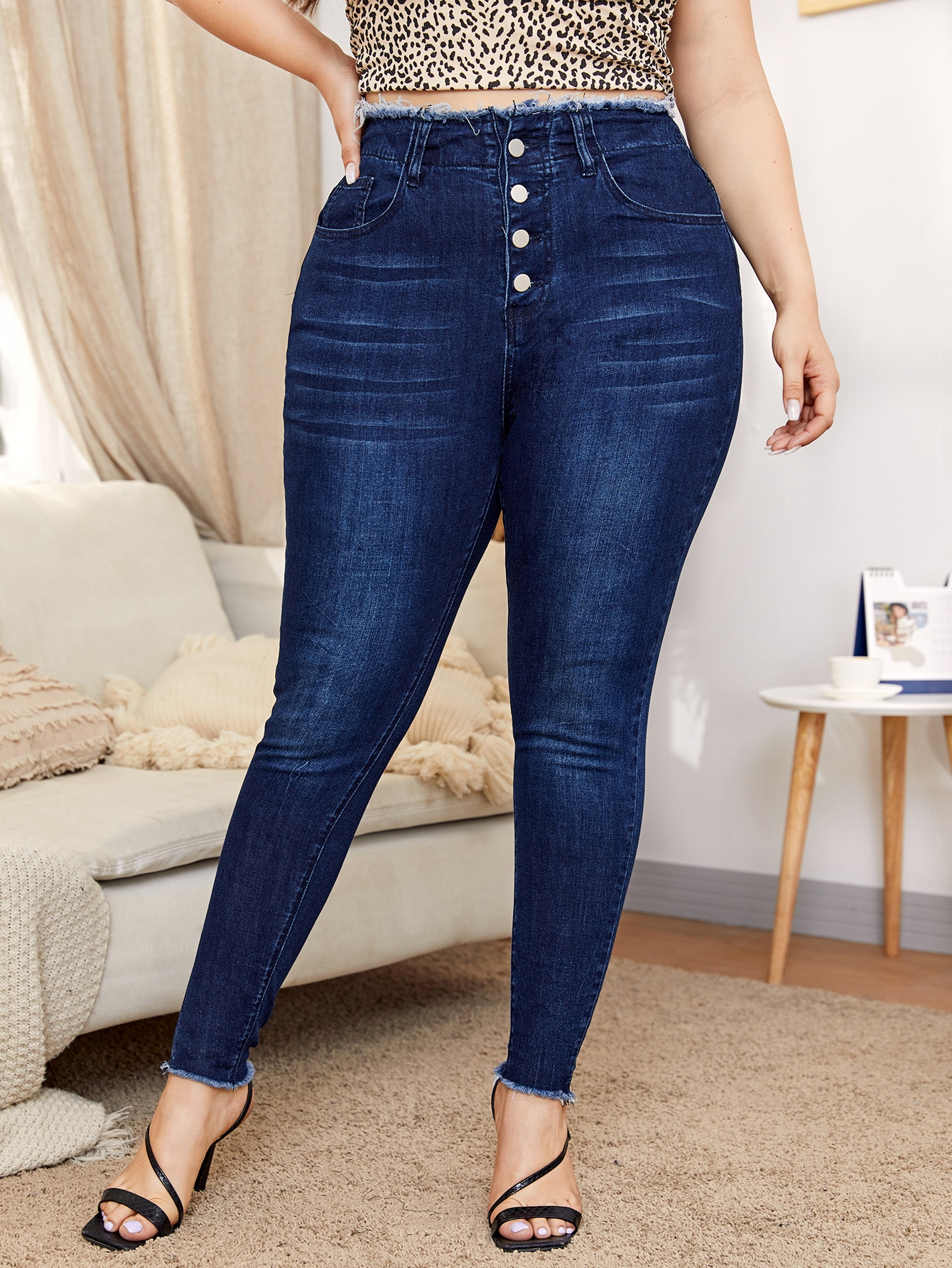 Plus Buttoned Fly High Stretch Raw Trim Fitted Jeans thumbnail