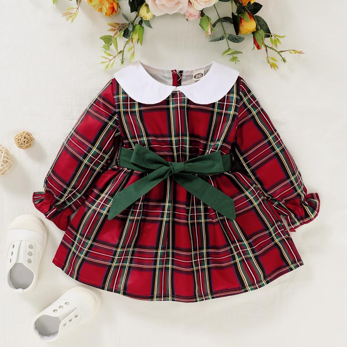 с воланами шотландка Институтский Платья для малышей от SHEIN