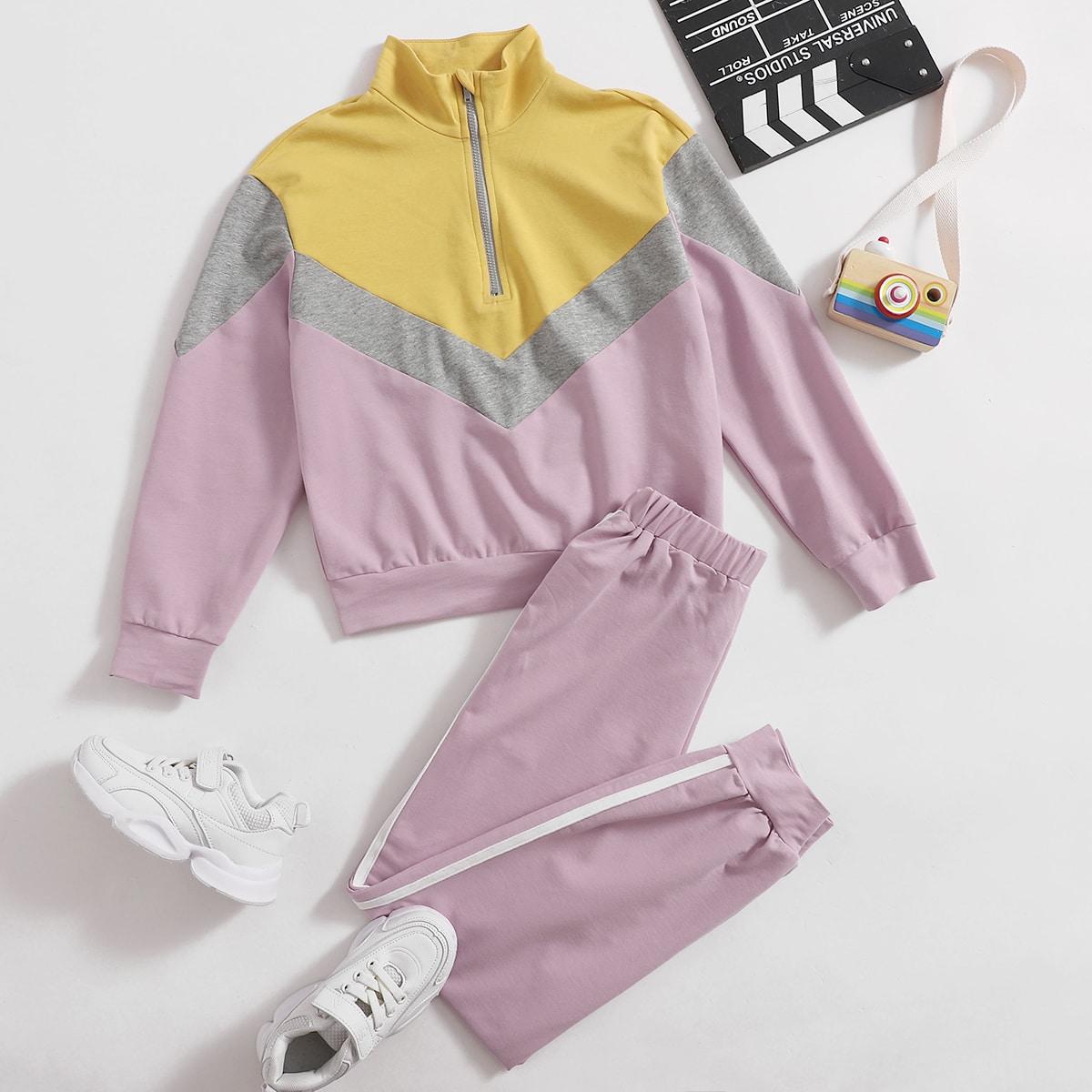 Контрастный пуловер с молнией и спортивные брюки для девочек